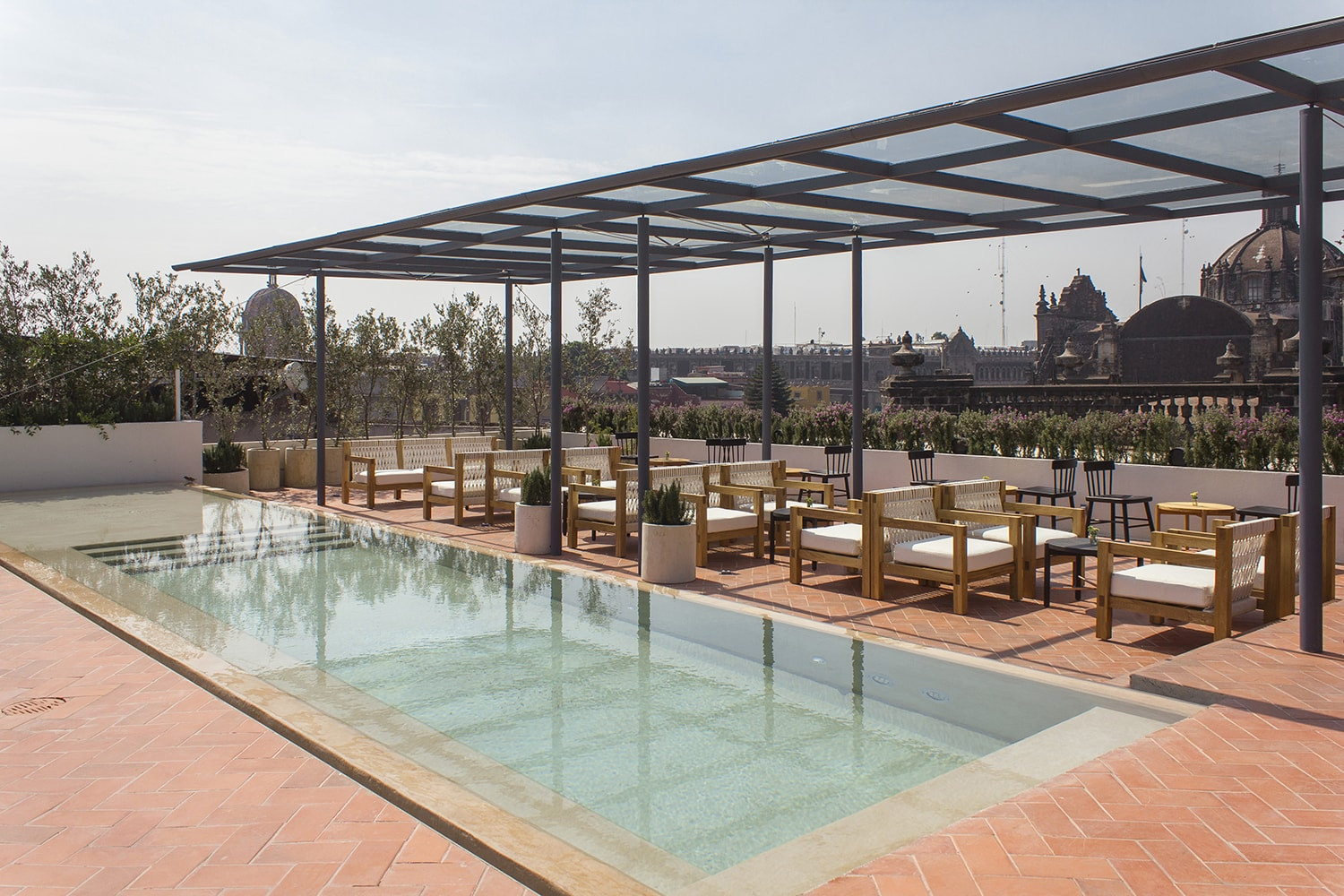 Rooftop Pool with Restaurant and Bar at Designer Chicago Hotel